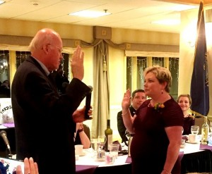 Kelli Barnaby, Portsmouth City Clerk being sworn in as President of the New Hampshire City & Town Clerks Association by Secretary of State Bill Gardner.
