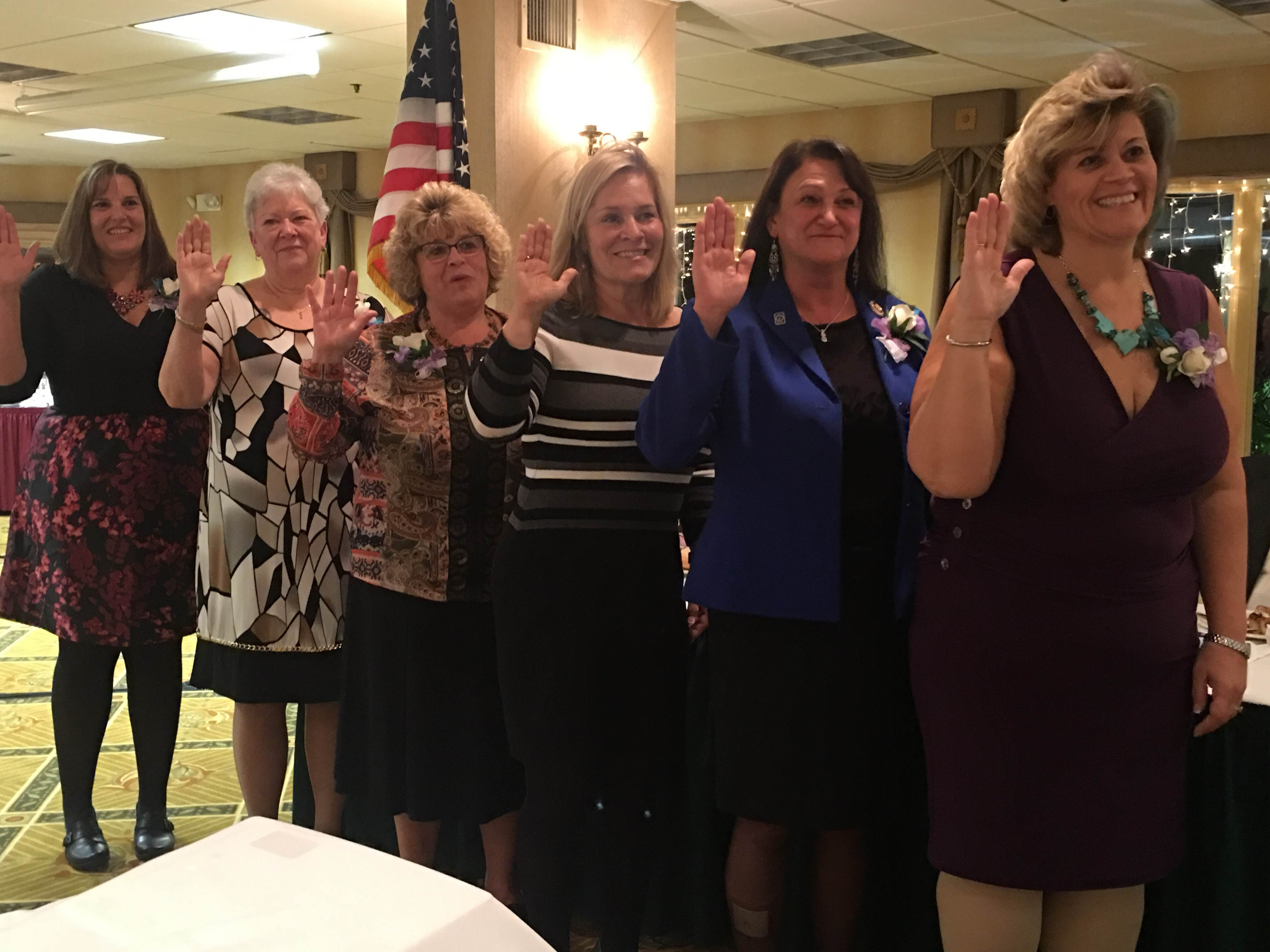 Executive Board Members from left to right:  1st Vice President Sandi Allard, Lebanon, 2nd Vice President Raymah Simpson, Bristol, Treasurer Betty Ramspott, Sunapee, Secretary Barbara Clark, East Kingston, Webmaster Sue McKinnon, Newfields and Past President Kerri Parker, Meredith.